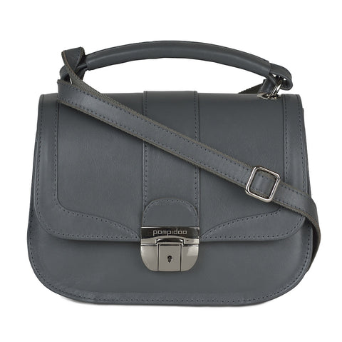 Women's Gray Leather Camera Bag - Lima