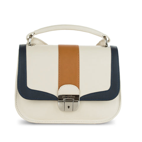Women's White Leather Camera Bag - Lima