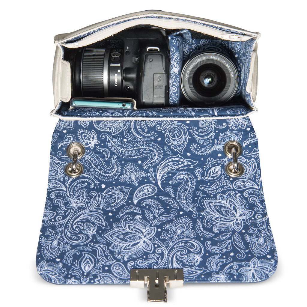 Women's Leather Camera Bag - Lima in White, Blue and Brown by POMPIDOO on Jetset Times SHOP