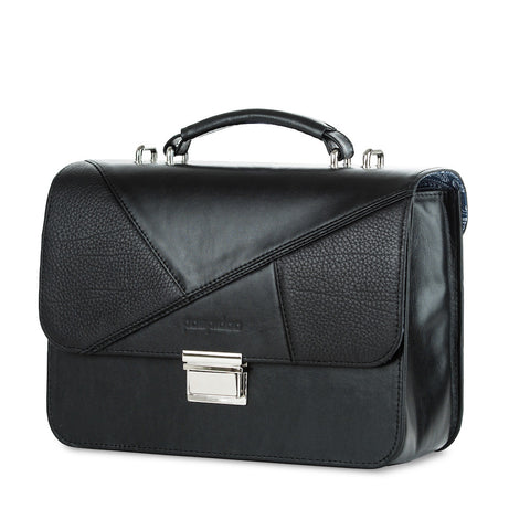 Women's Black Leather Camera Bag - Miami