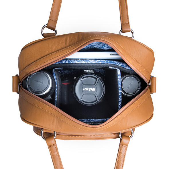 Women's Brown Leather Camera Bag - Palermo by POMPIDOO on Jetset Times SHOP
