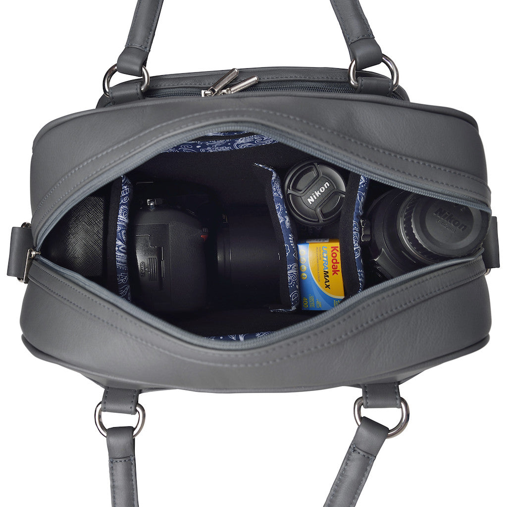 Women's Gray Leather Camera Bag - Palermo by POMPIDOO on Jetset Times SHOP