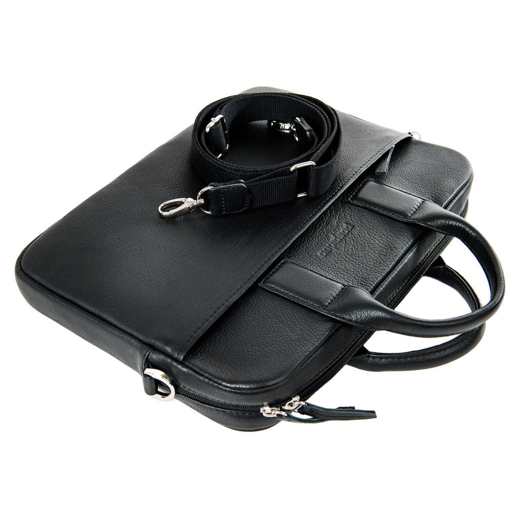Black Leather Laptop Bag - Sydney for Men and Women by POMPIDOO on Jetset Times SHOP