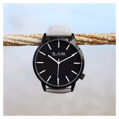 Gray Leather Minimalist Watch for Men and Women - London by BLAAX on Jetset Times SHOP