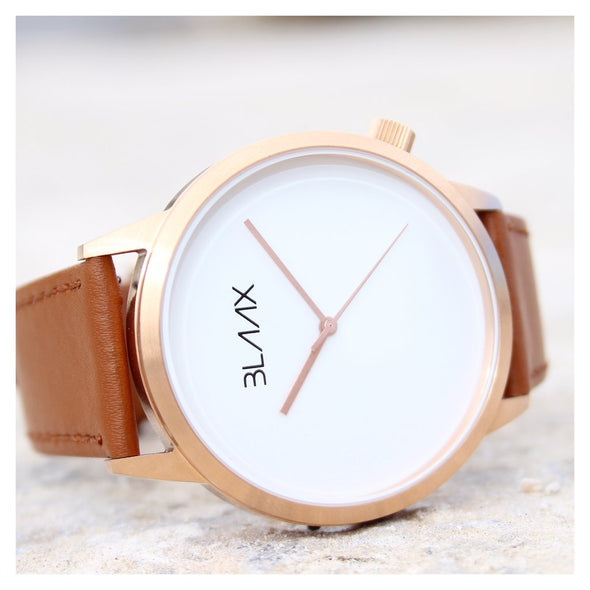 Brown Leather Minimalist Watch for Men and Women - Morocco by BLAAX on Jetset Times SHOP