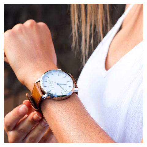 Tan Leather Watch For Men & Women - Miami Tan