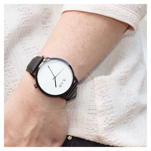 Black Leather Watch for Men & Women - Eclipse