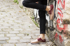 Men's Casual Leather Shoes - Puerto Vallarta in Bordeaux and Tan by TapatÌ_a on Jetset Times SHOP