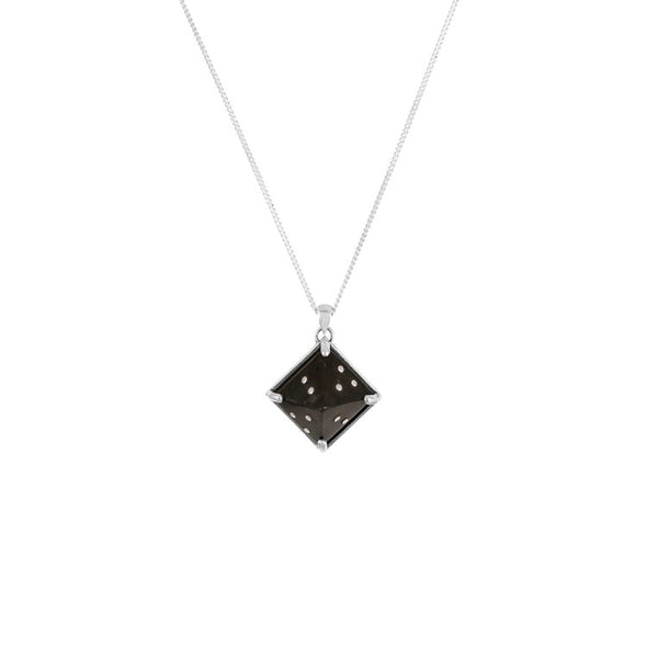 Women's Sami Pyramid Pendant Necklace - Silver & Black by No 13 on Jetset Times SHOP