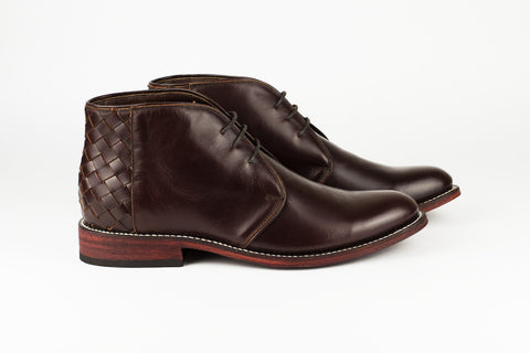 Men's Burgundy Leather Ankle Boots - TAPALPA