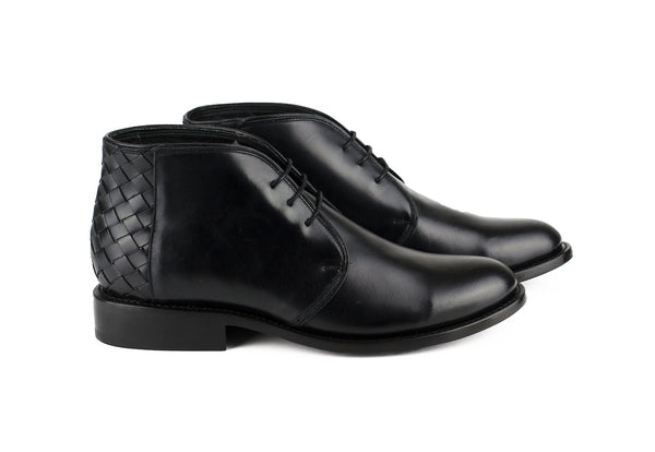 Men's Black Leather Ankle Boots - TAPALPA