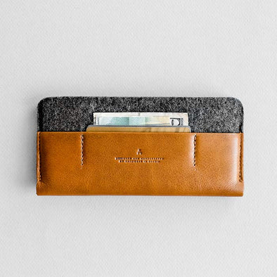 Leather iPhone/iPhone Plus Sleeve Wallet - Portside in Brown with Dark Gray by HANDWERS on Jetset Times SHOP