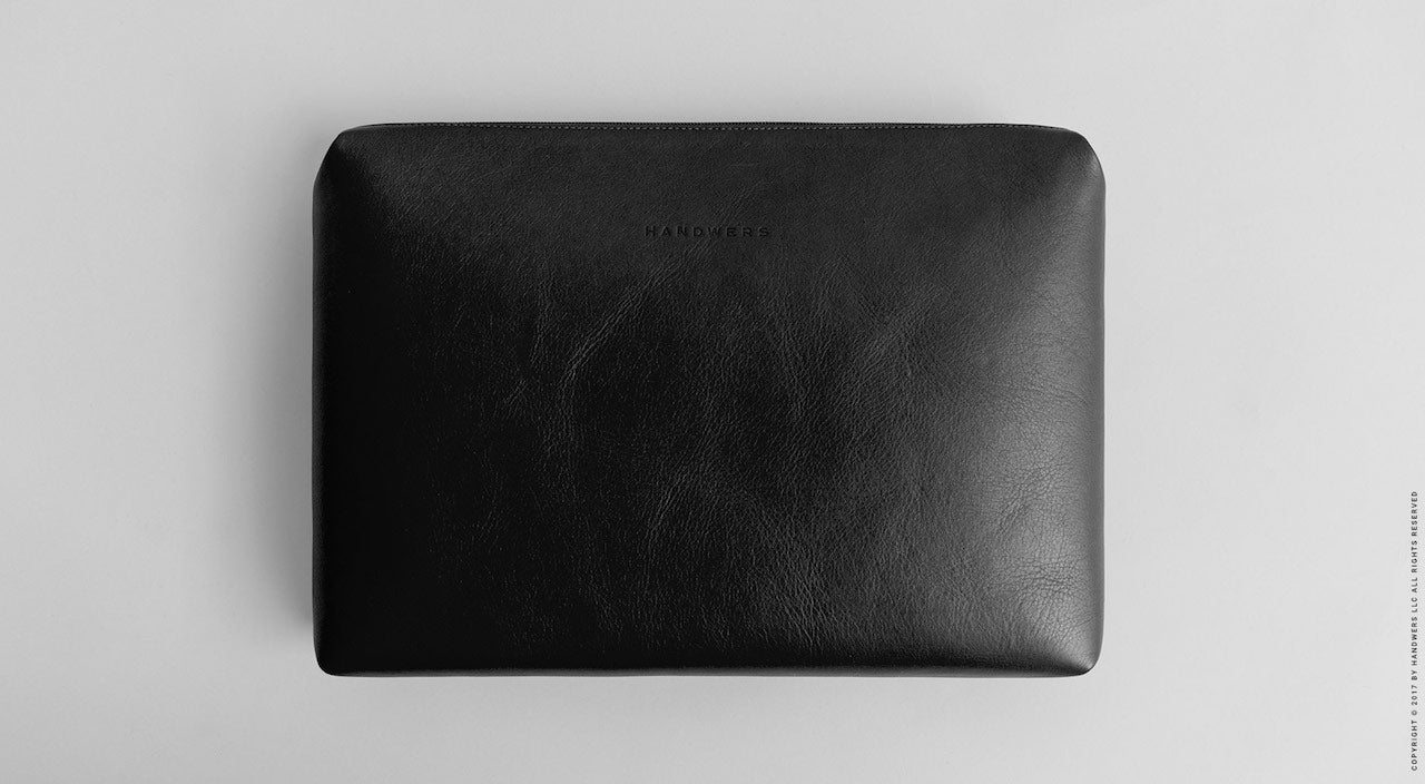 Leather Laptop Folio Case - Garda in Black by HANDWERS on Jetset Times SHOP