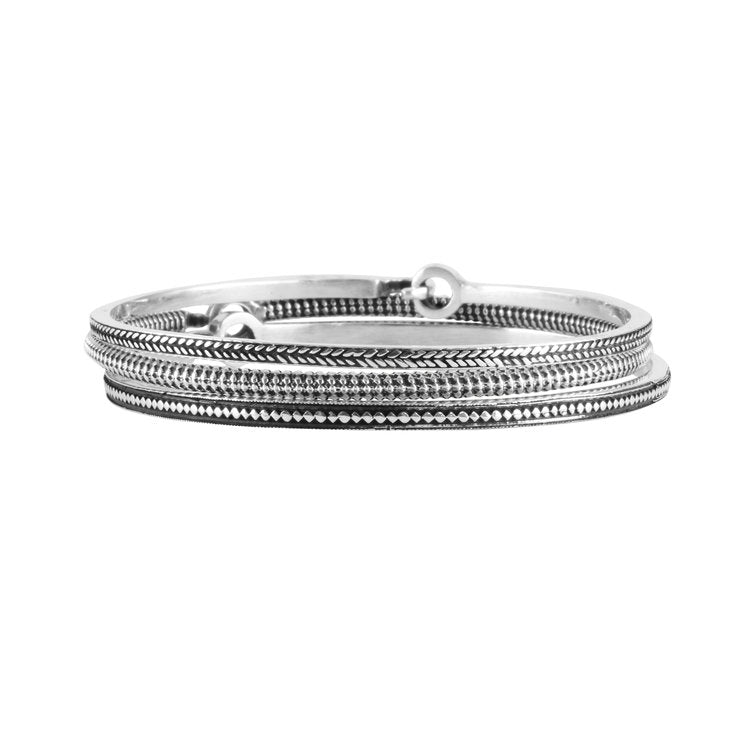 Women's Sami Gagnef Patterned Bangle - Silver by No 13 on Jetset Times SHOP