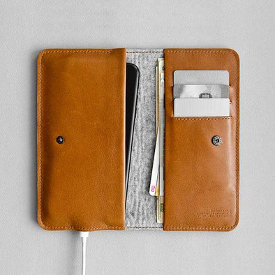 Leather iPhone/iPhone Plus/iPhone X Bifold Wallet - Ranch in Brown by HANDWERS on Jetset Times SHOP