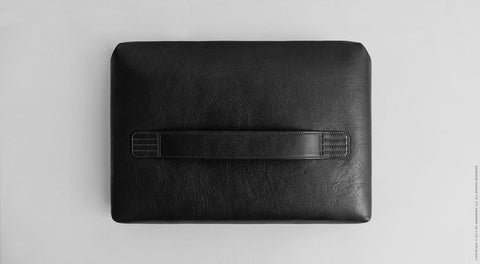 Leather Laptop Folio Case - Garda in Black