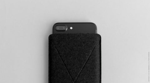 Wool Felt iPhone Plus Sleeve - Cross in Black