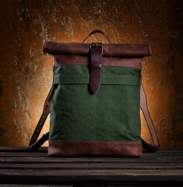 Roll Top Military Canvas Backpack