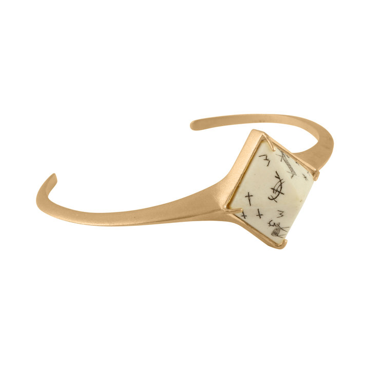 Women's Sami Pyramid Reindeer Bangle - Sandblasted Gold Vermeil by No 13 on Jetset Times SHOP