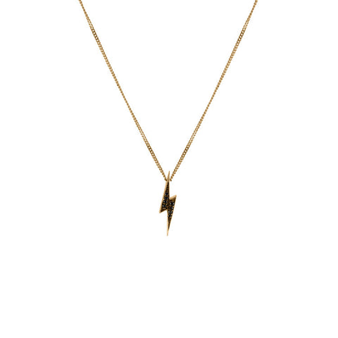 Women's Lightning Bolt Pendant Necklace - 9ct Gold & Black Diamonds