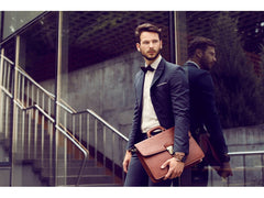 Dark Brown Leather Briefcase - The Sound of the Mountain for Men and Women by Time Resistance on Jetset Times SHOP