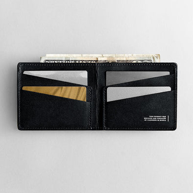 Men's Ultra Slim Wallet - Leaf in Black by HANDWERS on Jetset Times SHOP