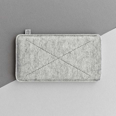 Wool Felt iPhone/iPhone Plus Sleeve - Cross in Light Gray