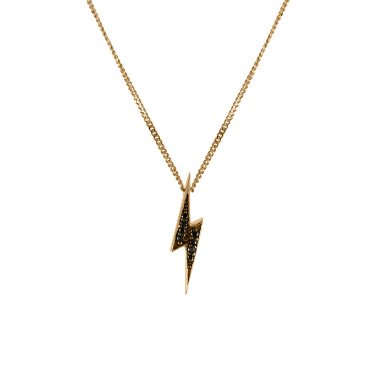 Women's Lightning Bolt Pendant Necklace - 9ct Gold & Black Diamonds by No 13 on Jetset Times SHOP
