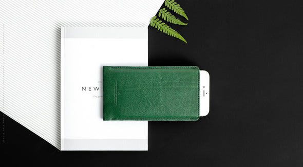 Leather iPhone/iPhone Plus Sleeve - Hike in Green by HANDWERS on Jetset Times SHOP