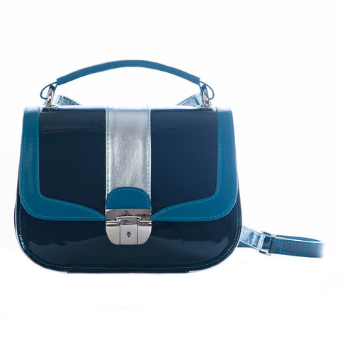 Women's Blue Leather Camera Bag - Lima