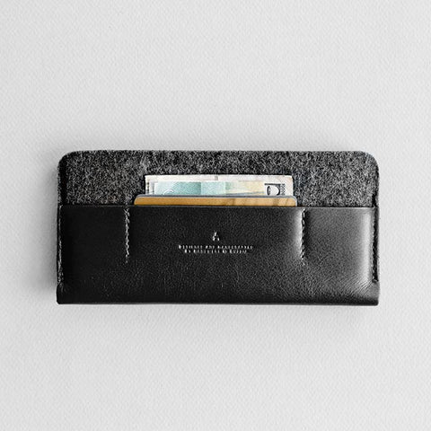 Leather iPhone/iPhone Plus Sleeve Wallet - Portside in Black