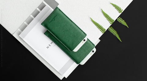 Leather iPhone/iPhone Plus Sleeve - Hike in Green