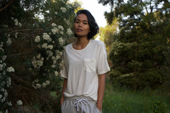 Bamboo T-Shirt in Alabaster White for Men and Women by One For The Road on Jetset Times SHOP