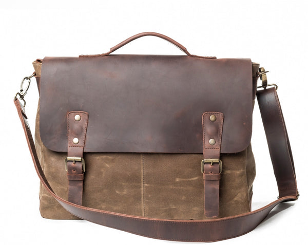 Waxed Canvas Leather Laptop Messenger Bag for Men & Women - Sandstone w/ Brown in Various Sizes