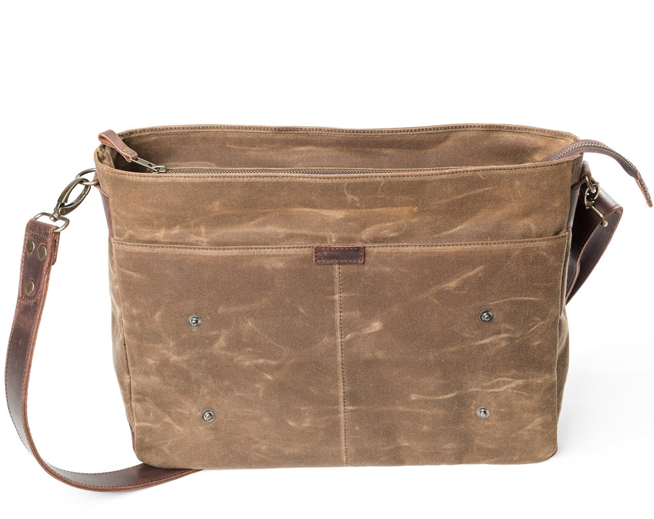 Waxed Canvas Leather Laptop Messenger Bag for Men and Women - Sandstone Canvas with Brown Leather by Tram 21 on Jetset Times SHOP