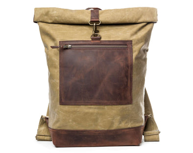 Waxed College Backpack - Tan