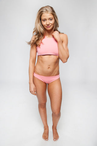 Women's High Neck Reversible Bikini Top - Emily in Coral/Lilac