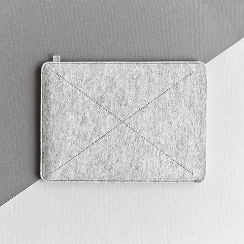 Wool Felt iPad Mini/iPad Air/iPad Pro Sleeve - Cross in Light Gray by HANDWERS on Jetset Times SHOP