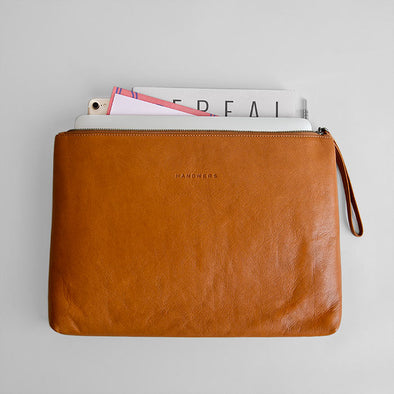 "Leather MacBook 12""/iPad Pro 10.5"" Folio Pouch - Yukon in Brown by HANDWERS on Jetset Times SHOP"