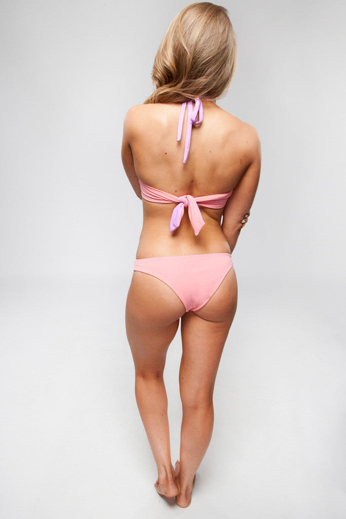 Women's High Neck Reversible Top - Emily in Coral/Lilac by Lagoa Swimwear on Jetset Times SHOP
