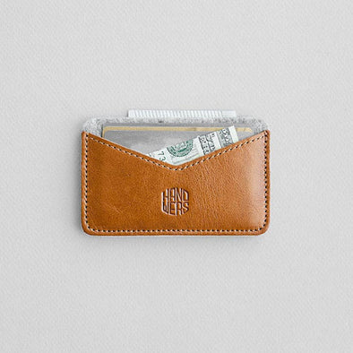 Leather Cardholder Wallet - Chaste in Brown with Light Gray by HANDWERS on Jetset Times SHOP