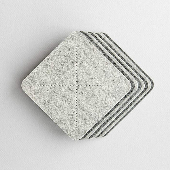 Wool Felt Coasters for Home - Cross in Light Gray Melange by HANDWERS on Jetset Times SHOP