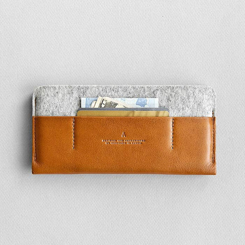 Leather iPhone/iPhone Plus Sleeve Wallet - Portside in Brown with Light Gray by HANDWERS on Jetset Times SHOP