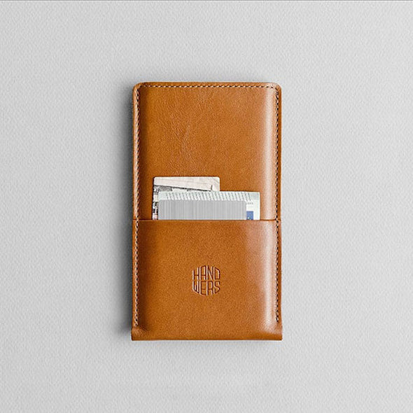 Leather iPhone/iPhone Plus Sleeve w/ Pocket - Hike in Brown by HANDWERS on Jetset Times SHOP