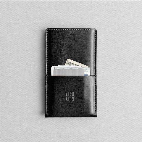 Leather iPhone/iPhone Plus Sleeve w/ Pocket - Hike in Black