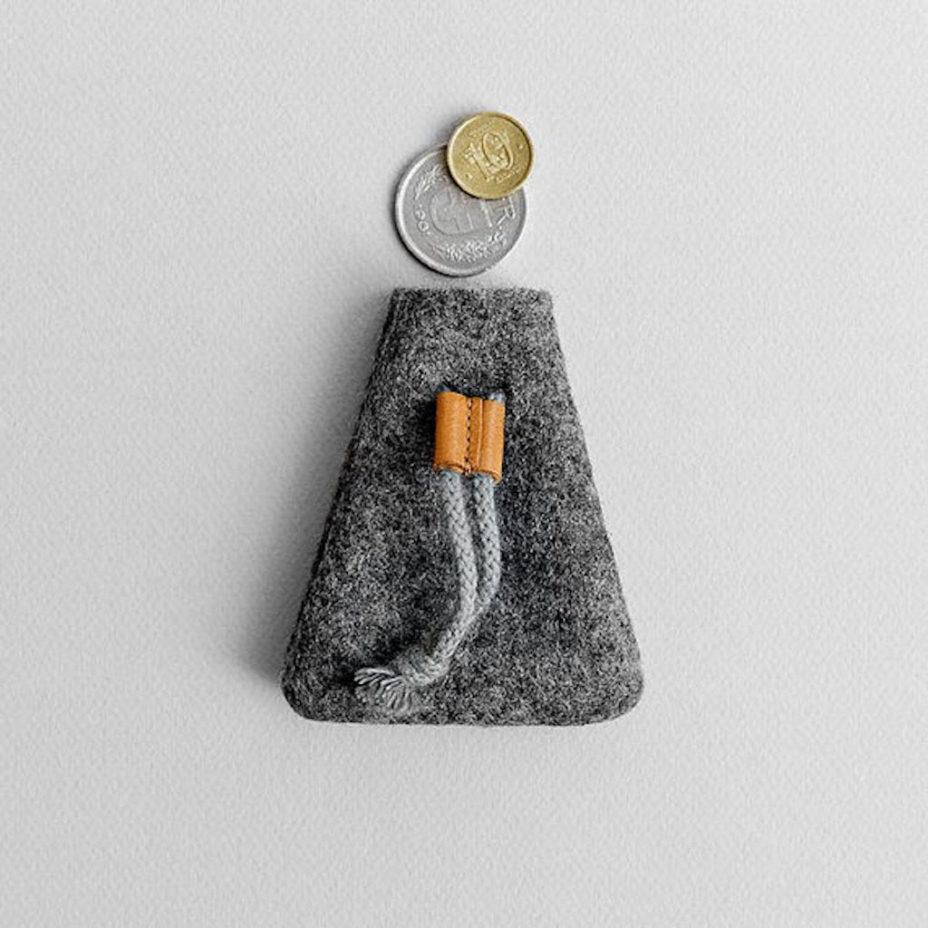 Wool Felt Coin Purse Wallet for Men and Women - Lapse in Gray by HANDWERS on Jetset Times SHOP