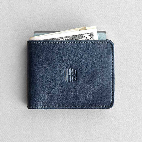 Men's Leather Bifold Wallet - Ambit in Blue by HANDWERS on Jetset Times SHOP