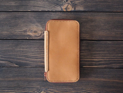 iPhone XS Leather Wallet- Light Brown