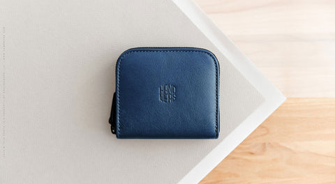Leather Travel Zipper Wallet - Cliff in Blue