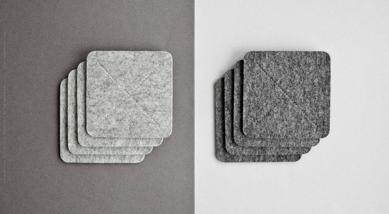 Wool Felt Coasters for Home - Cross in Light Gray Melange (Left Side) by HANDWERS on Jetset Times SHOP